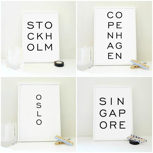 Typography Minimal Travel Print Cities Europe Modern Design Handamade Sacred and Profane Oslo Copenhagen Singapore