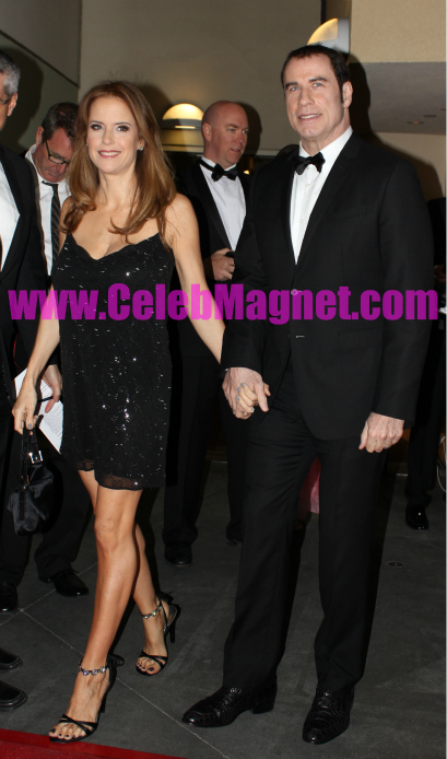 John Travolta and Kelly Preston arrive at red carpet for Teresa Palmer arrives at 9th annual G'Day USA Los Angeles Black Tie Gala was held January 14, 2012 at Hollywood & Highland.