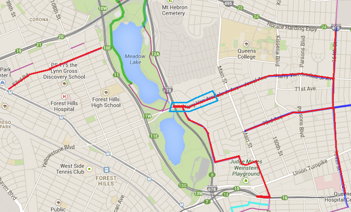 CCNY By Bike: Area in Forest Hills and Flushing Queens Bike Map on