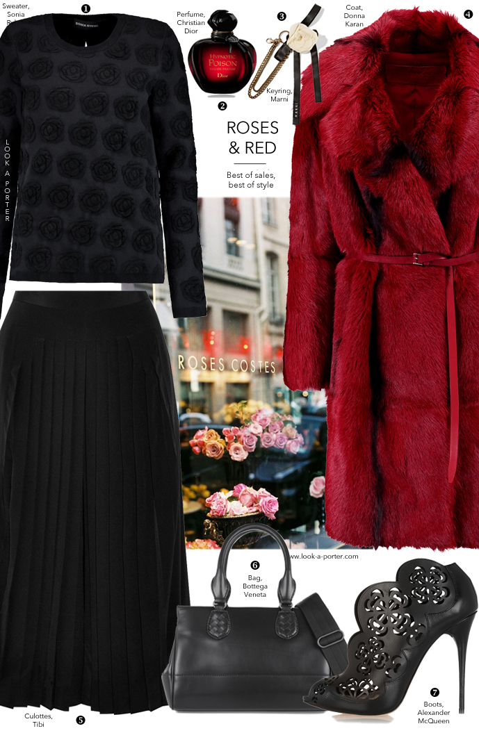 Styling culottes in black and red outfit idea with Bottega Veneta, Donna Karan, McQueen & Sonia Rykiel via www.look-a-porter.com