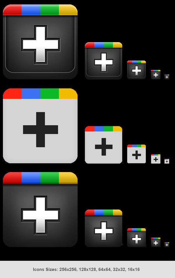 Google Plus Icons PSD