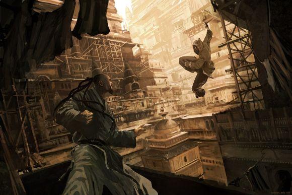 Geoffroy Thoorens djahalland deviantart ilustrações arte conceitual guerras futuristas batalhas tecnologia Lutadores