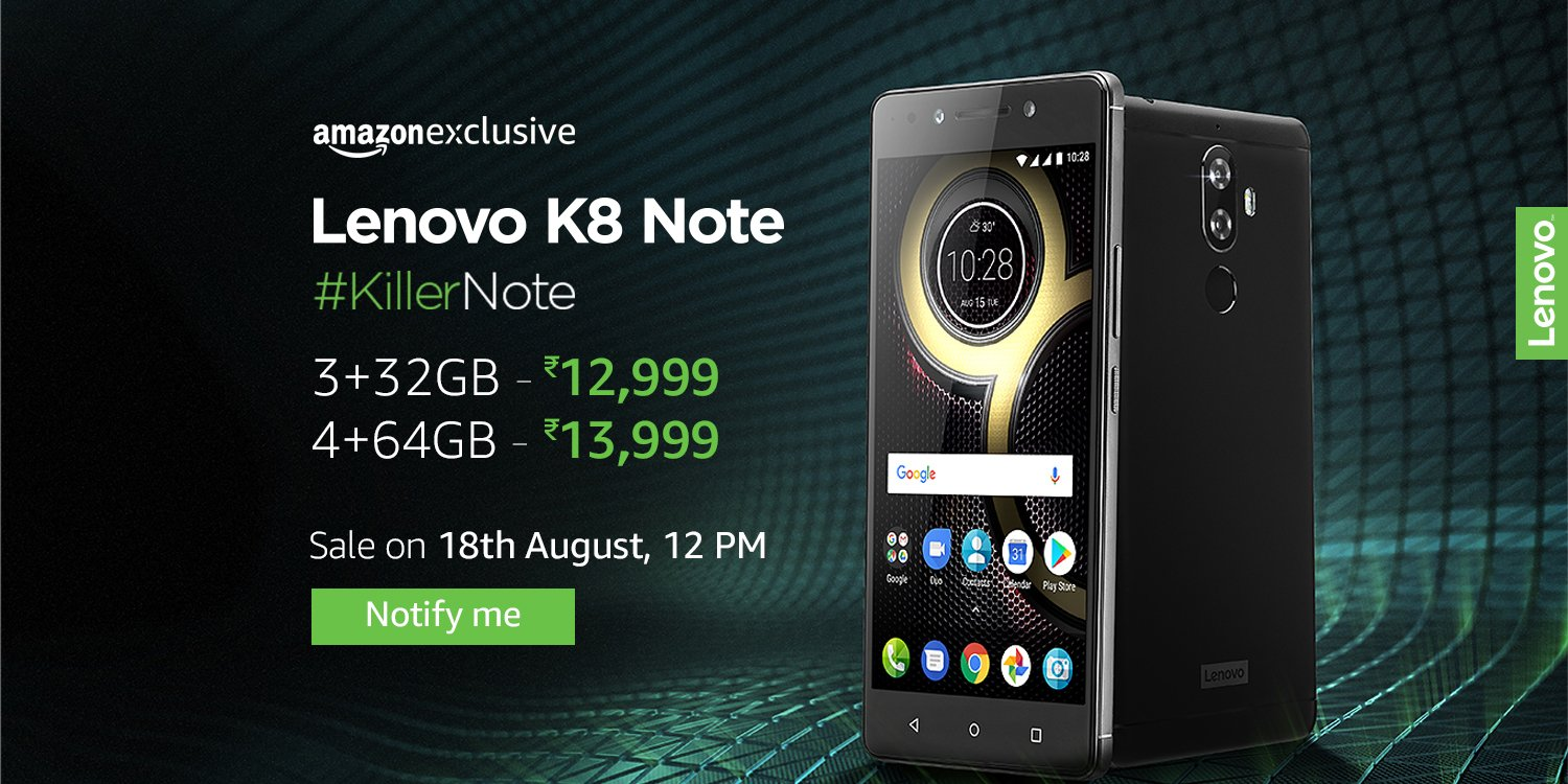 Lenovo K8 Note - Next Sale on 25th