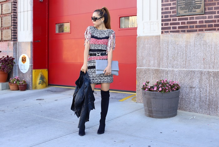 Endless Rose fringe sweater dress, GiGi new york carly convertible clutch, prada retro sunglasses, hermes belt, steve madden OTK boots, OTK boots, leather jacket, fashion blog, nyc blogger, chanel earrings, fall fashion, fall essentials