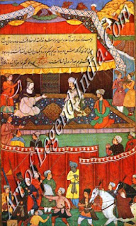 Babur Meeting Khanzada Begam, Mehr Banu. Begam and other Ladies