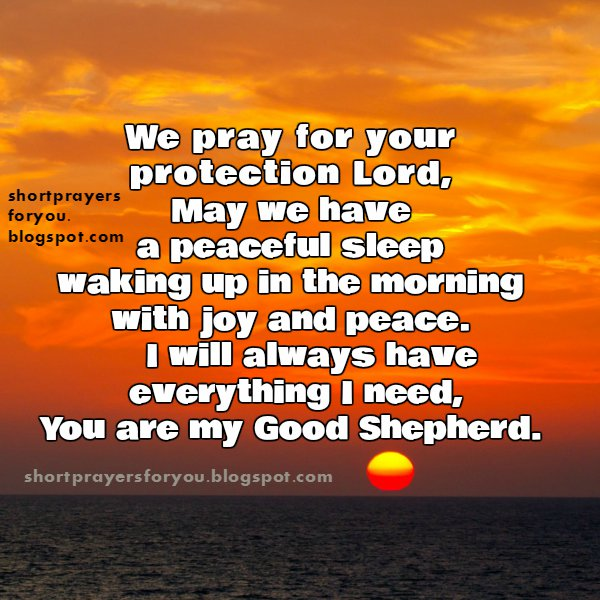 We pray for your protection lord good night short prayer