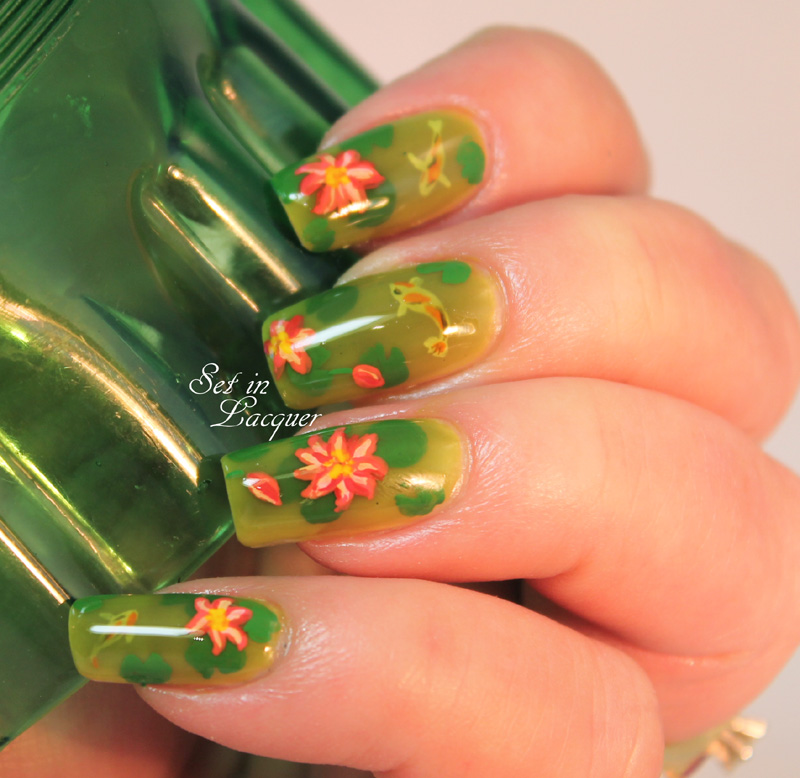 Pond nail art - complete with Koi and lilies
