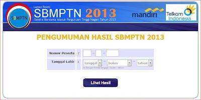Cek hasil SBMPTN 2013
