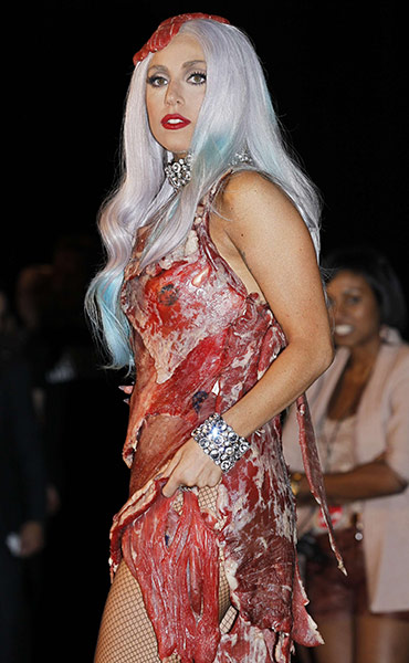 lady gaga meat dress images. hot Wear Lady Gaga#39;s Meat