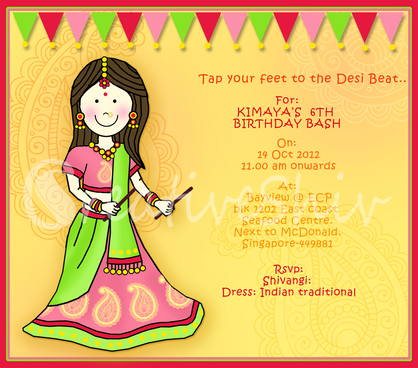 Creativeshiv indian theme birthday party birthday invitation stopboris Image collections
