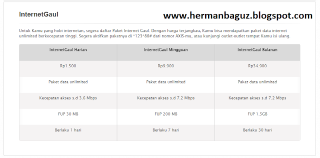 Paket Internet Axis XL Murah 1 Bulan Unlimited