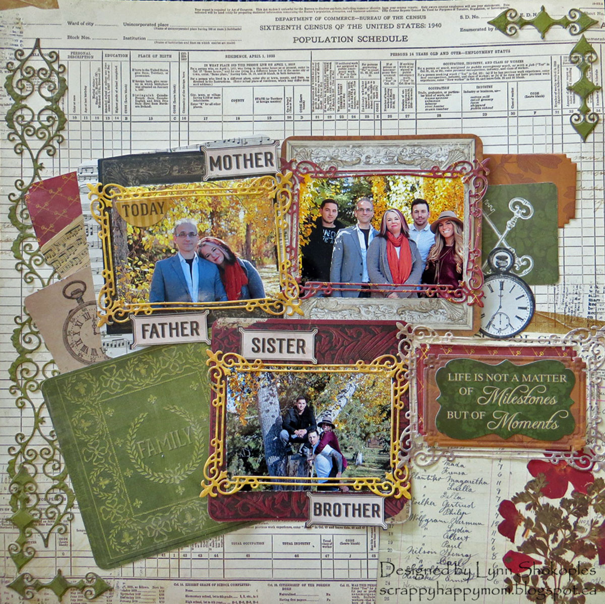 Family Layout by Lynn Shokoples for BoBunny featuring the Heritage Collection