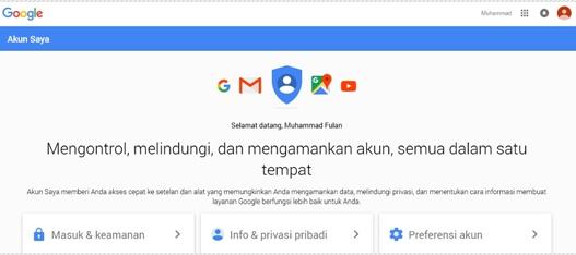 dasbor Akun Google