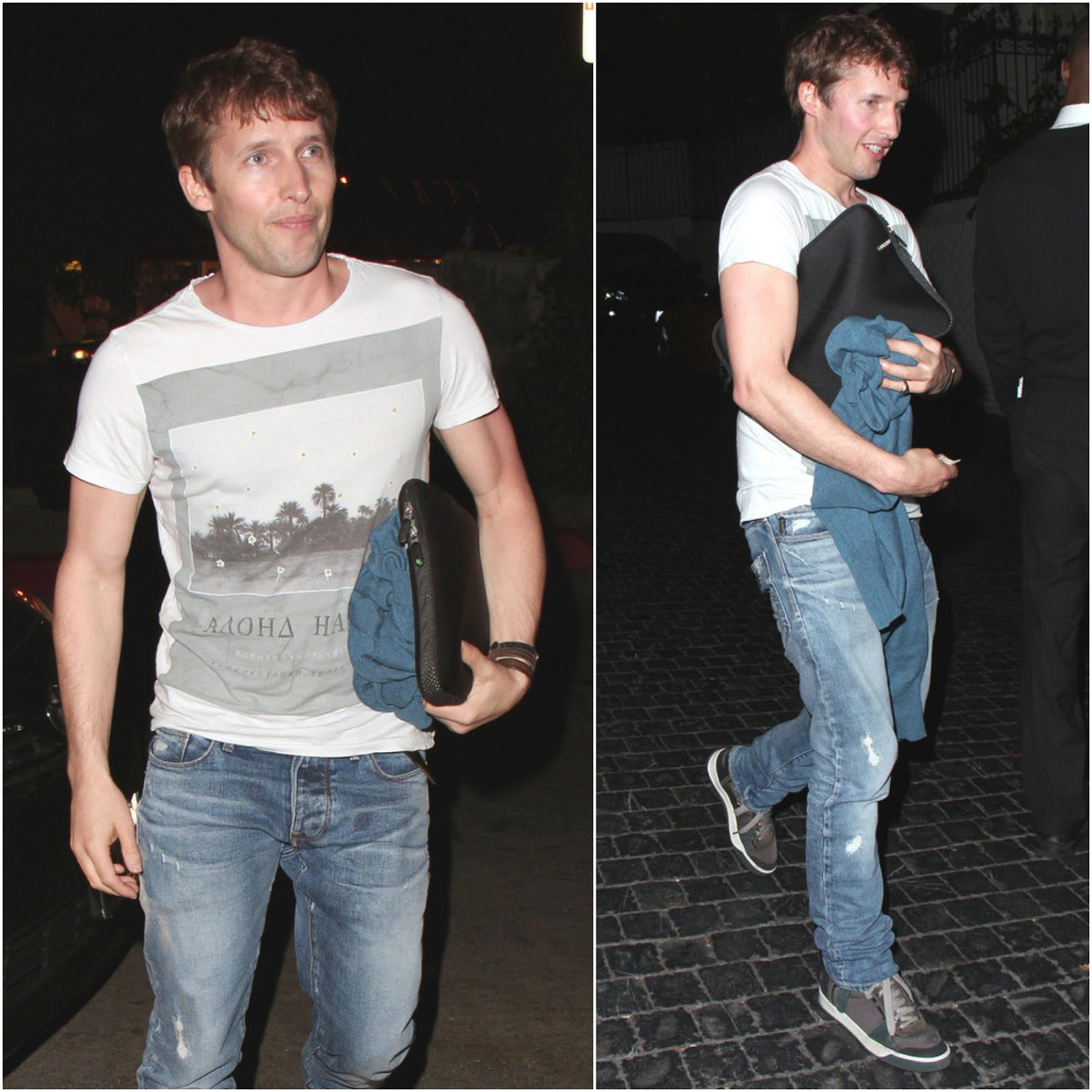 00O00 Menswear Blog: James Blunt in All Saints Aloha t-shirt and Lanvin sneakers - Chateau Marmont May 2013