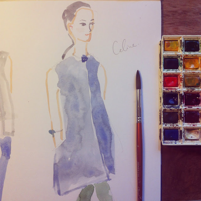 watercolour illustration of celine runway model
