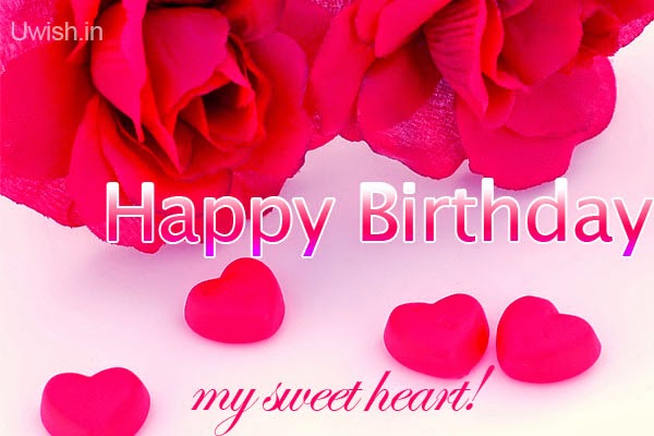 Happy Birthday My Sweet Heart e greetings and wishes with red roses and little red hearts.