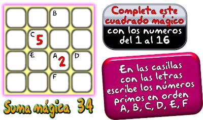 Cuadrados mágicos, cuadrados mágicos de tamaño 4x4, cuadrados magicos de orden 4, cuadrados mágicos con solución, cuadrados mágicos para imprimir