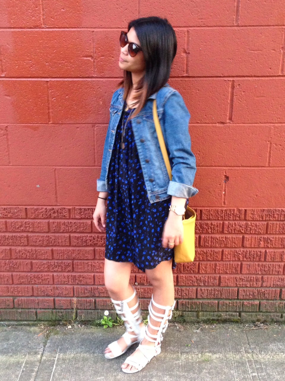 portland fashion blogger, outfit of the day, forever 21, floral shift dress, gladiator flat sandals