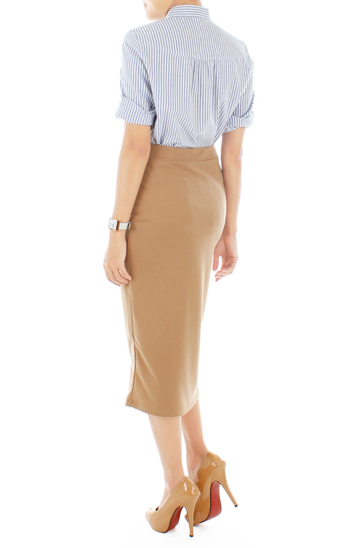 Preppy Hazelnut Brown Pencil Skirt in Longer Length