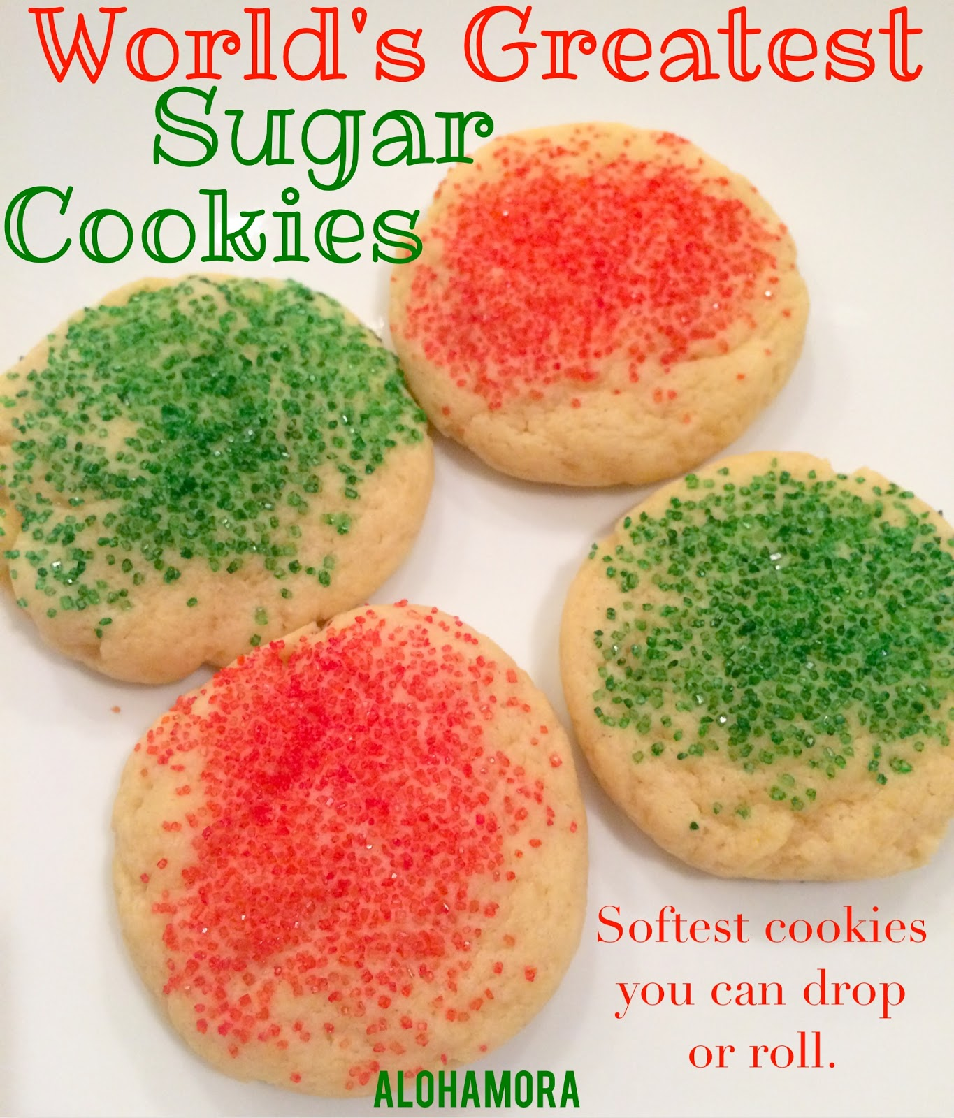 World's Greatest Sugar Cookie, and they really are the Best Cookies!  These sugar cookies are soft, and stay soft for days.  These sugar cookies can be rolled out or you can drop them to make them fast.  There are so very many options with these cookies.   Alohamora Open a Book http://alohamoraopenabook.blogspot.com/