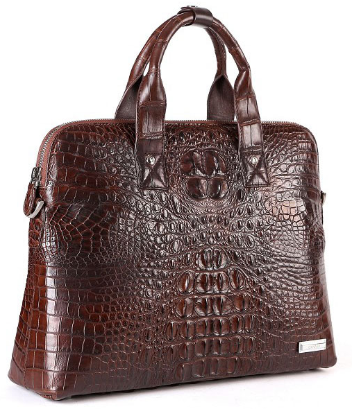 Classic Real Alligator Business Casual Mens Brown Bag