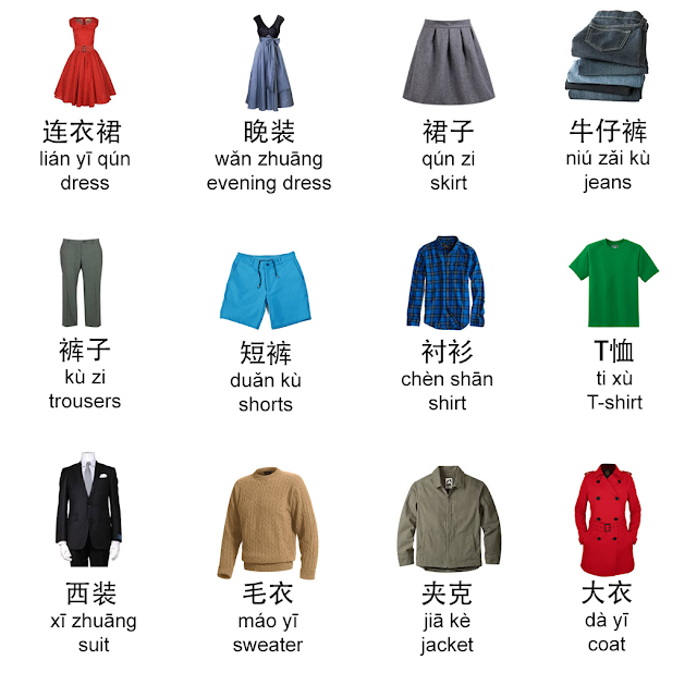 illustrated chinese vocabulary clothes