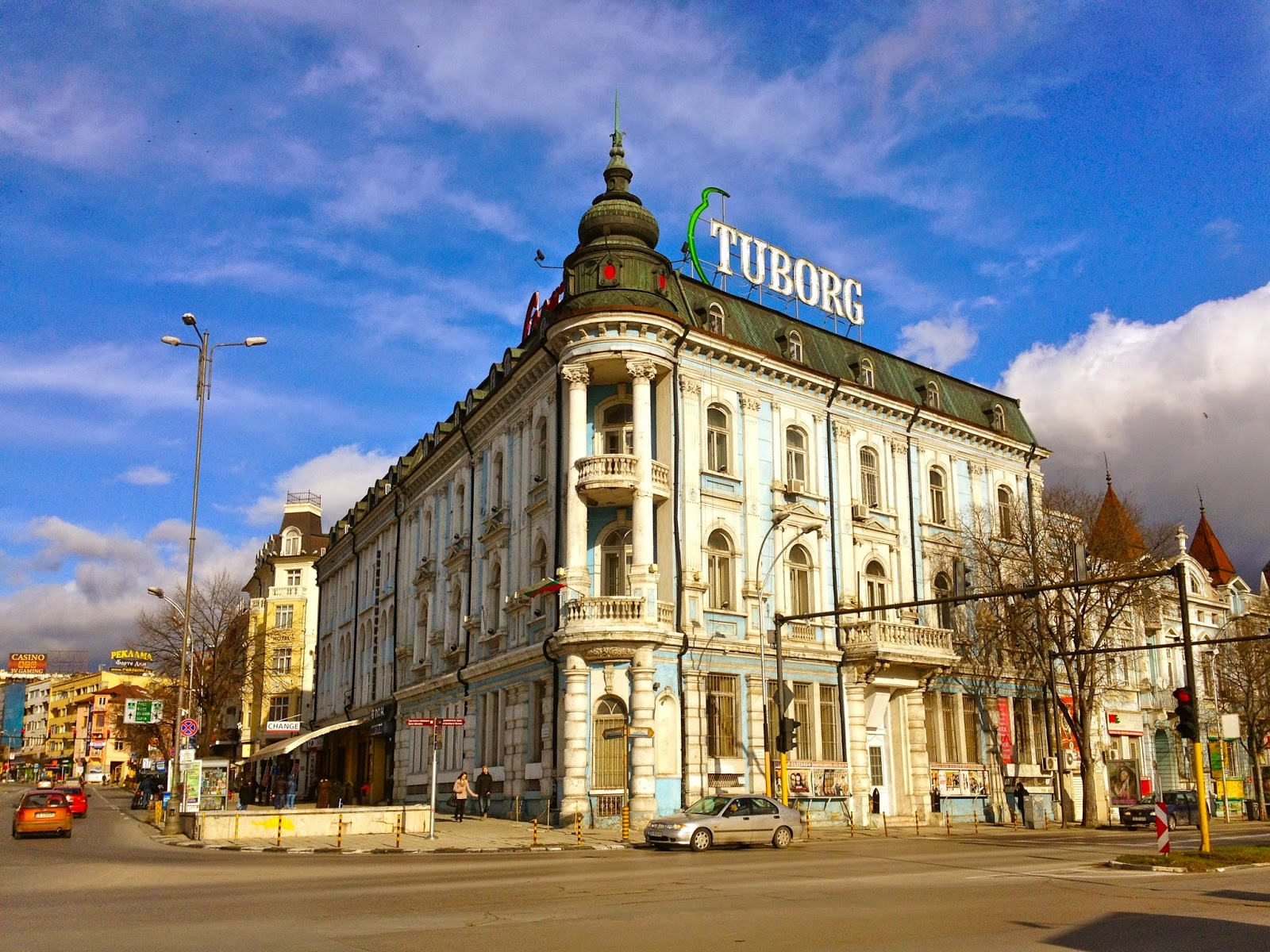 Photo of a street and building in Varna, Bulgaria.