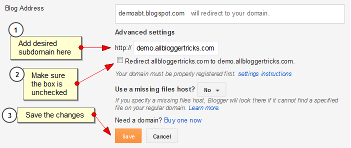 Subdomain Blogger Blog