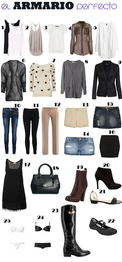 B sicos el armario perfecto 25 piezas para tu d a a d a - Vestir un armario ...