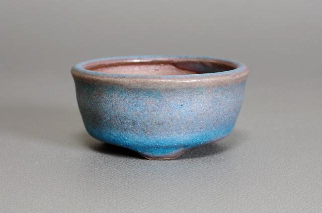 青銅マット釉丸盆栽鉢(Matt bronze glaze bonsai pot)h1740