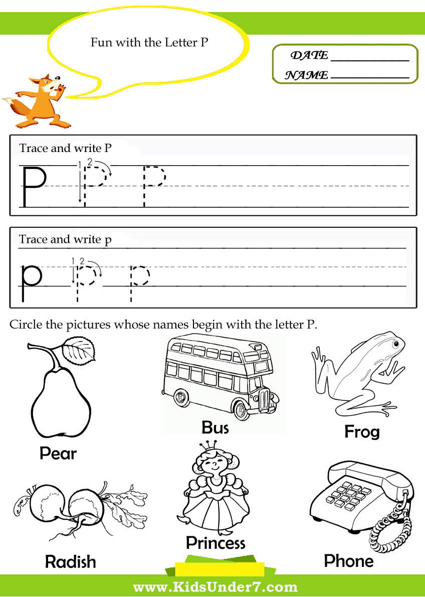 Letter P Worksheets For Kindergarten Kids under 7: alphabet tracing