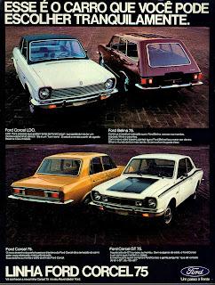 propaganda Linha Ford Corcel 75 - 1974. brazilian advertising cars in the 70. os anos 70. história da década de 70; Brazil in the 70s; propaganda carros anos 70; Oswaldo Hernandez;