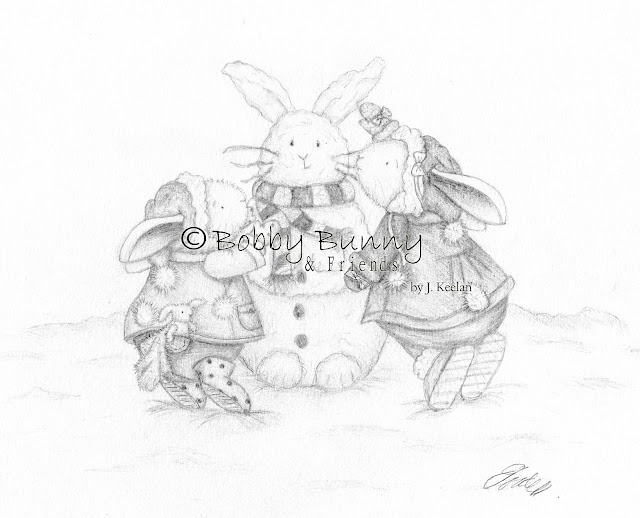 Bobby & Bella Bunny Character Black & White Christmas Illustration - Copyright Bobby Bunny & Friends By Jennifer Keelan 2009