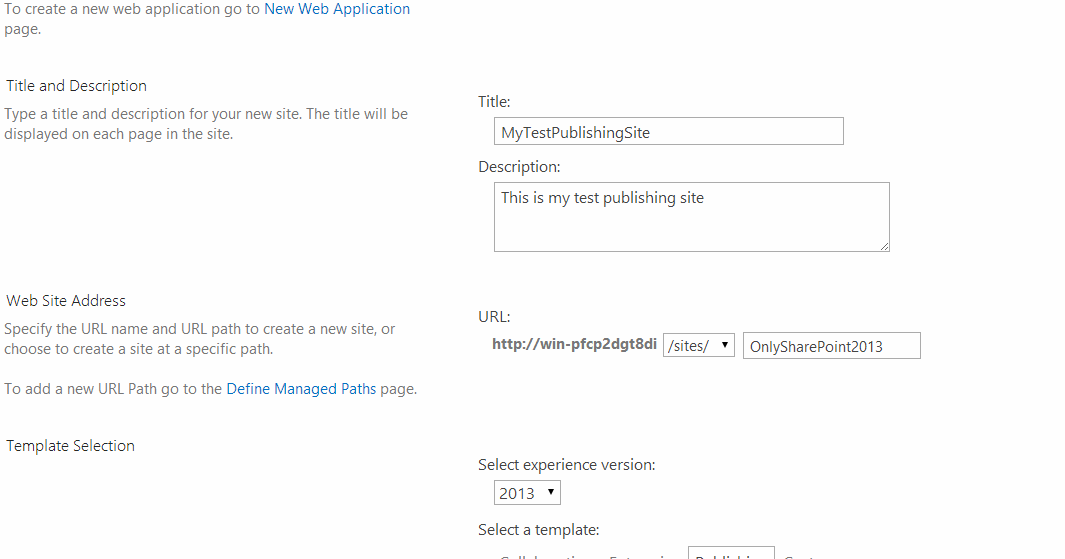 how to create a sharepoint site 2013