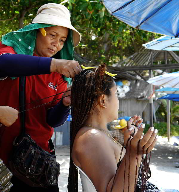 Hair Braiding on the beach at Koh Chang, Thailand