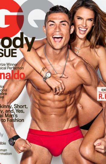 Cristiano Ronaldo et Alessandra Ambrosio posent ensemble en sous-vêtements montrant ses corps à la couverture du magazine « GO »