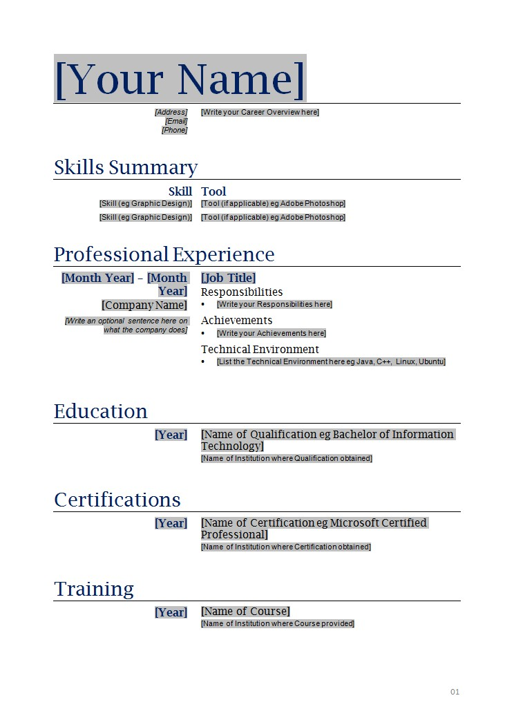 Free Basic Resume Templates Microsoft Word  Resume Format