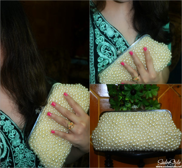 Princess Style wedding clutch with pearls