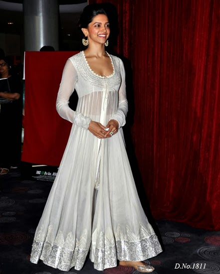 1811 Deepika Padukone In White Anarkali At Chennai Express First Looks Anarkali Suits