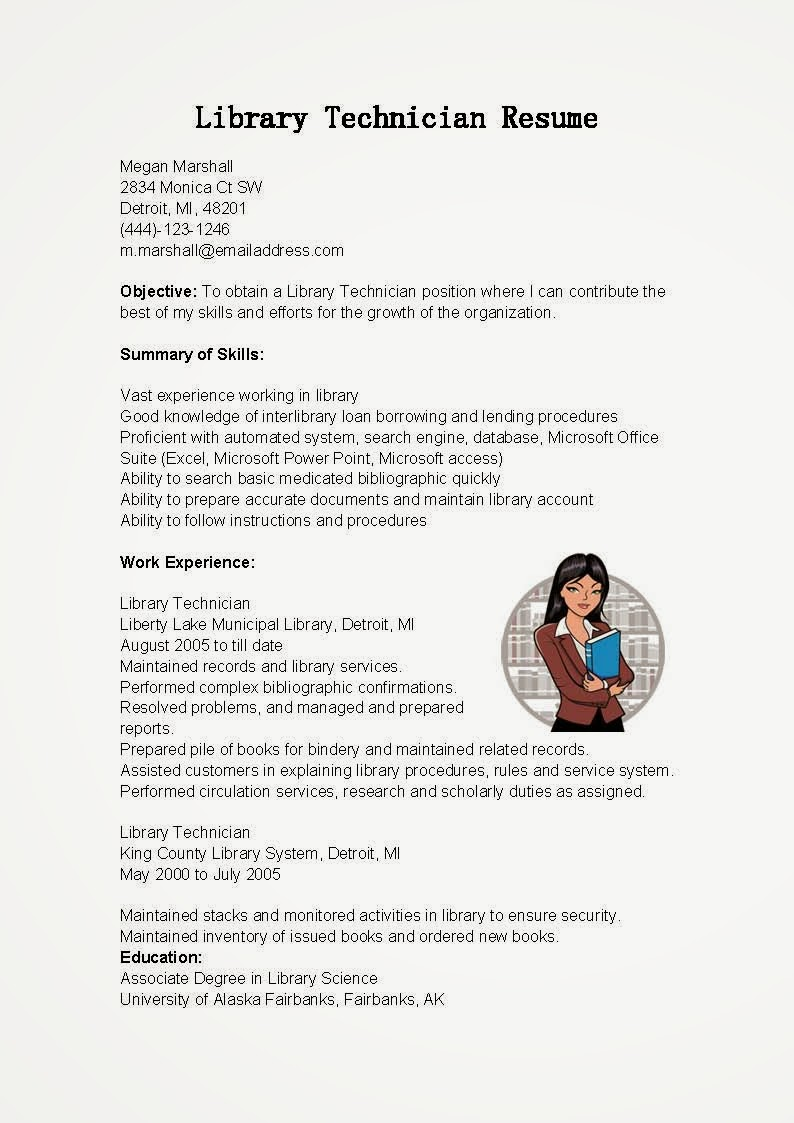 resume samples library technician resume sample - Library Science Resume Template
