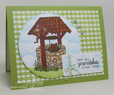 ODBD Wishing Well, ODBD Gingham Background, ODBD Custom Clouds and Raindrops Dies, ODBD Custom Double Stitched Rectangles Dies, ODBD Custom Double Stitched Circles Dies, Card Designer Angie Crockett