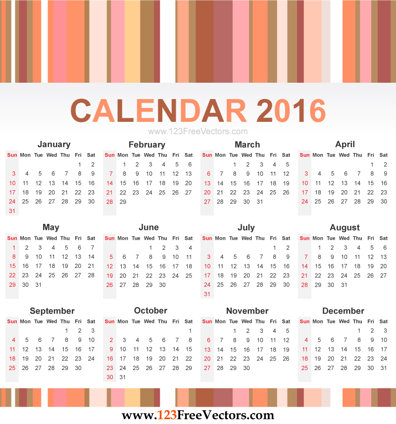 ... printable yearly calendar 2016 free annual 2016 calendar for print