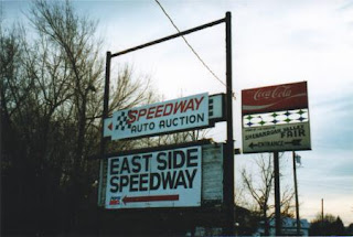 The Route 340 Drive-In marquee in Waynesboro, VA covered by Speedway signs - Photo from http://www.driveins.org/index.html