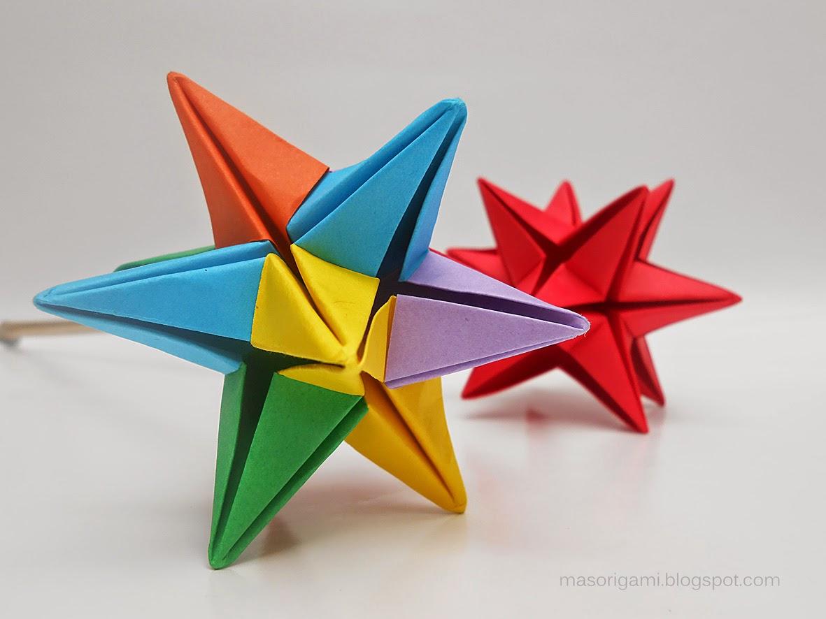 Mas origami estrella omega para souvenir - Origami de una estrella ...