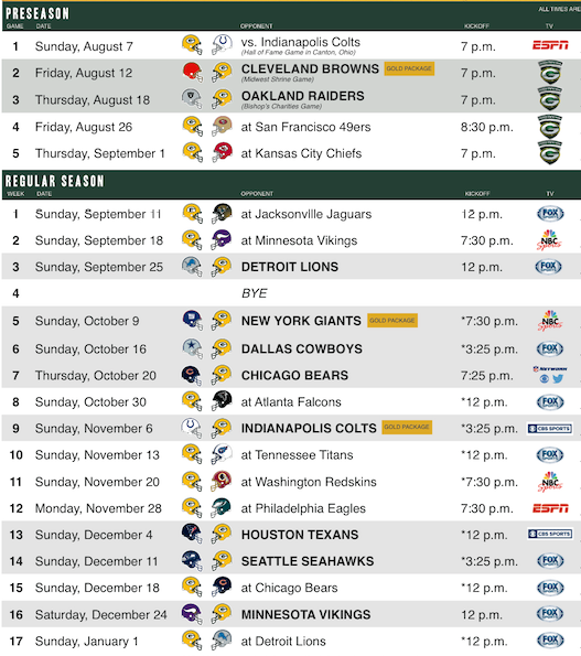 Packers 2016 Schedule