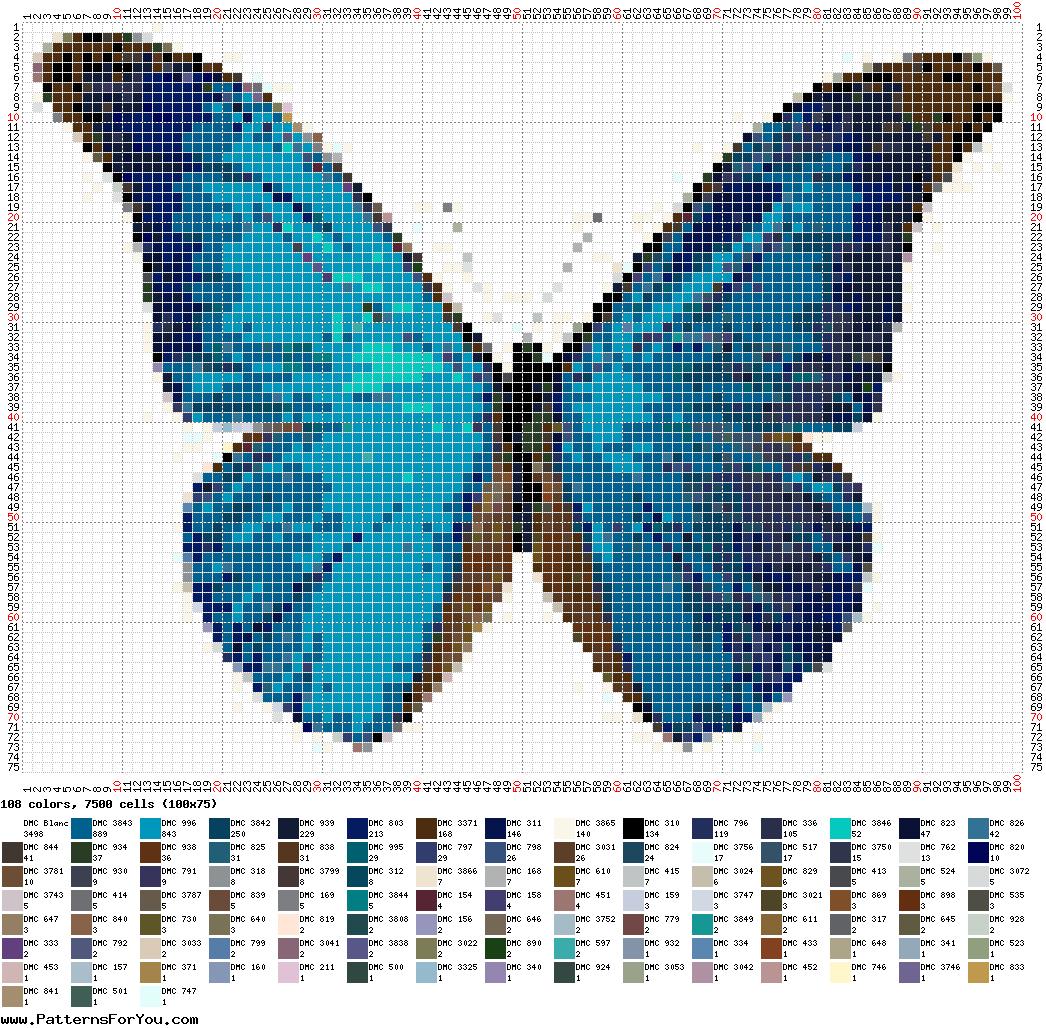 No solo de punto de cruz schema punto croce gratis for Farfalle a punto croce