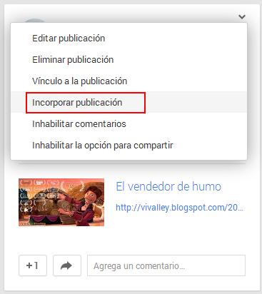 Incorporar una publicación de Google Plus