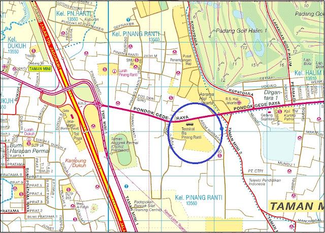 Peta Lokasi Terminal bis Pinang Ranti