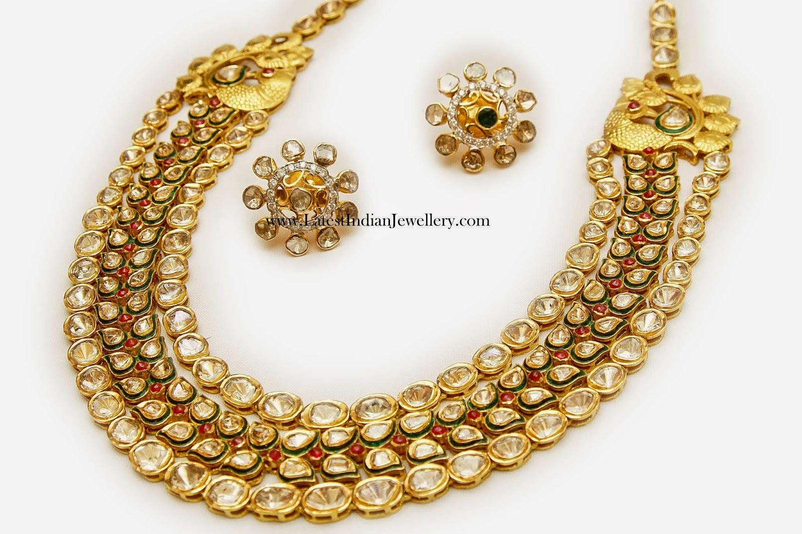 Polki Diamond Gold Mala