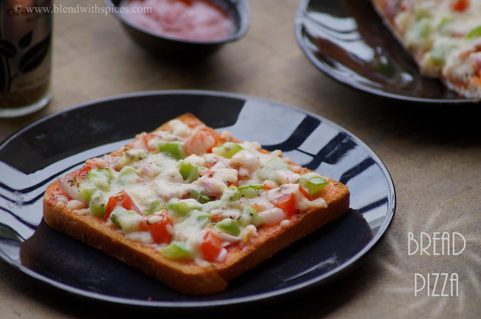 how to make bread pizza, easy bread pizza recipe at home